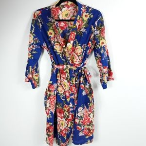 Women's Floral Print Lightweight 3/4 Sleeve Robe